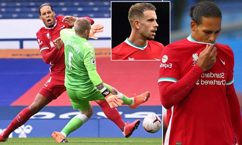 Jordan Henderson, Virgil van Dijk are posing for a picture: MailOnline logo