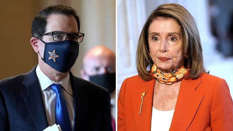 Nancy Pelosi wearing a suit and tie: On The Money: Sides tiptoe towards a COVID deal, but breakthrough appears distant | Expiring benefits raise stakes of stimulus talks | Stocks fade with eyes on Capitol