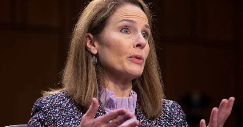 "a close up of a person: Amy Coney Barrett was a very popular pick among conservatives, but her confirmation ""battle"" so far has been a snoozer. Michael Reynolds-Pool/Getty Images"