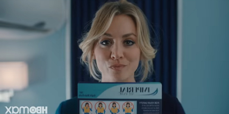 Kaley Cuoco holding a sign: The Big Bang Theory star Kaley Cuoco's TV comeback, HBO Max drama series The Flight Attendant, unveils first-look tense trailer.