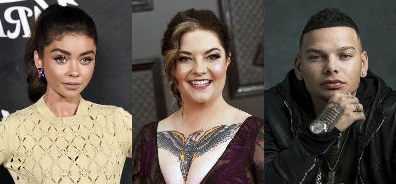 This combination photo shows, from left, singers  Kane Brown, Ashley McBryde and actress Sarah Hyland who will host this year's CMT Music Awards airing on CMT, MTV, MTV2, Logo, Paramount Network, Pop and TV Land. (AP Photo)