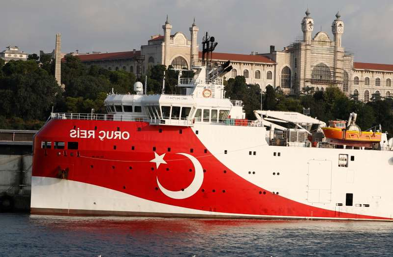 a boat sitting on top of a building: Turkish seismic research vessel Oruc Reis is seen in Istanbul