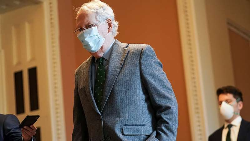 a man wearing a suit and tie: GOP coronavirus bill blocked as deal remains elusive