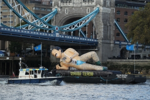Giant Borat floats down Thames to promote new movie