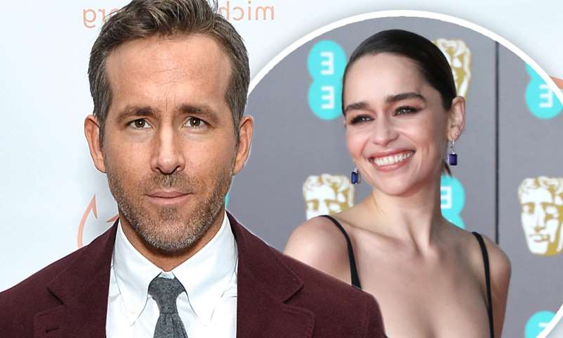 Emilia Clarke, Ryan Reynolds are posing for a picture: MailOnline logo