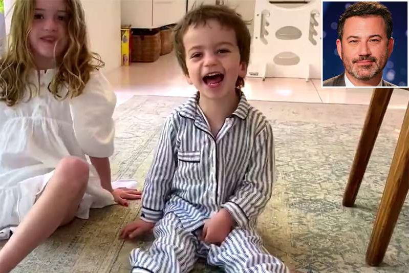 "Jimmy Kimmel et al. sitting posing for the camera: The talk show host's son, William ""Billy"" John, 3, had to undergo three heart surgeries after he was born with a congenital heart condition"