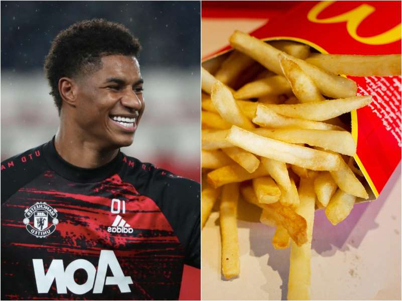 Marcus Rashford holding a hot dog and fries: Christoph Schmidt/Picture Alliance via Getty Images, Xavier Laine/Getty Images