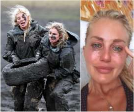 a couple of people posing for the camera: Ali Oetjen has a tough as boots exterior on challenging reality show SAS Australia, but beneath the surface, she's been dealing with a tough break up.