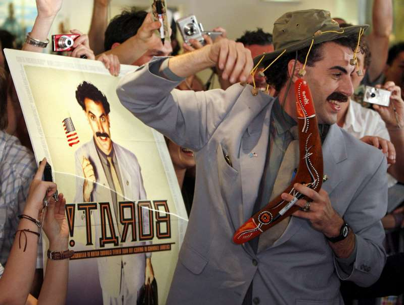 a group of people that are talking to each other: The first Borat movie, Borat: Cultural Learnings of America for Make Benefit Glorious Nation of Kazakhstan, was released in 2006 and elicited criticism from government officials [File: David Gray/Reuters]