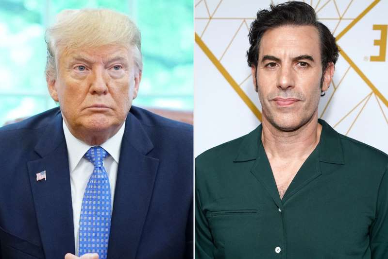 Sacha Baron Cohen, Donald Trump are posing for a picture: Rachel Luna/Getty Images; MANDEL NGAN/AFP via Getty Images