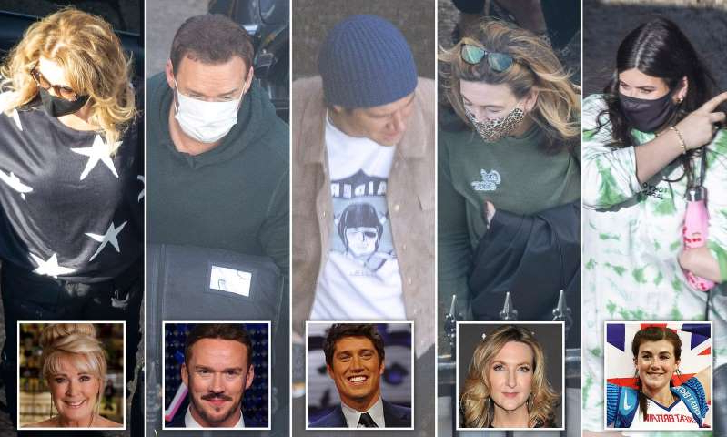 Victoria Derbyshire, Vernon Kay, Russell Watson, Beverley Callard posing for the camera: MailOnline logo
