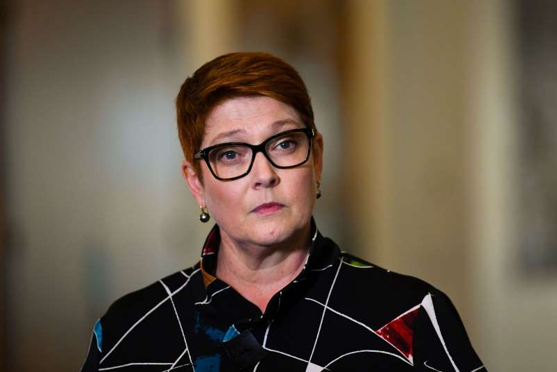 Marise Payne wearing glasses and smiling at the camera: Australian Foreign Minister Marine Payne speaks during a news conference in Canberra on Oct. 26. (Lukas Coch/EPA-EFE/Shutterstock)