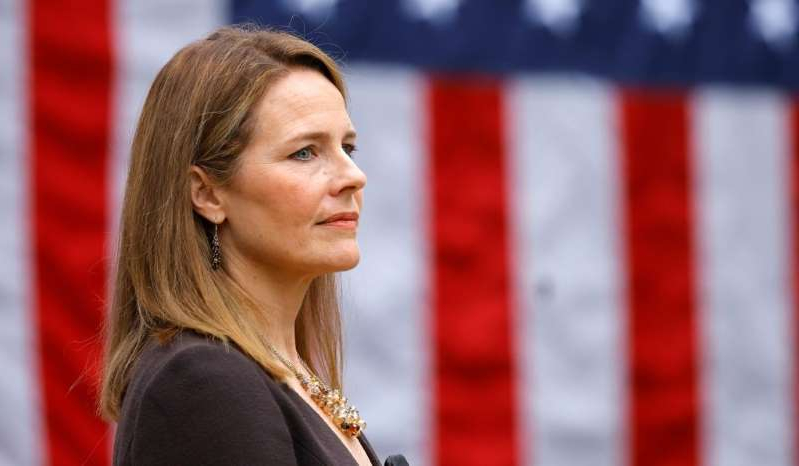 a close up of a woman: Judge Amy Coney Barrett at an event to announce her nomination to the Supreme Court at the White House in Washington, D.C., September 26, 2020