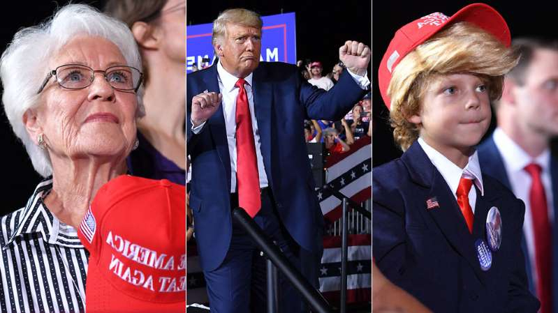 Donald Trump, Louise Forestier posing for the camera: Trump's Florida fanbase is young and old