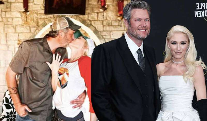 Gwen Stefani, Blake Shelton that are dressed up and posing for the camera