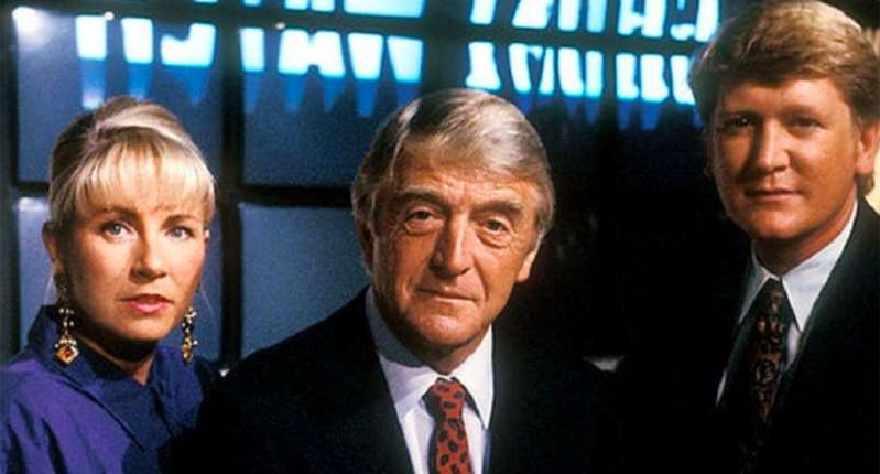 Mike Smith, Michael Parkinson posing for the camera: Mike Smith, Michael Parkinson and Sarah Greene in Ghostwatch. (BBC)