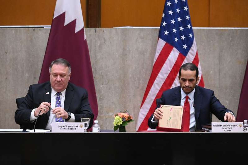 Mohammed bin Abdulrahman Al Thani, Mike Pompeo are posing for a picture: US Secretary of State Mike Pompeo and Qatar's Deputy Prime Minister Mohammed bin Abdulrahman Al Thani sign a memorandum of understanding during the third annual US-Qatar Strategic Dialogue, at the State Department in Washington, D.C. on September 14, 2020.