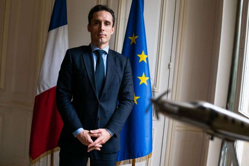 a man wearing a suit and tie: France's Transport Minister Jean-Baptiste Djebbari Interview