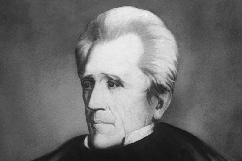 a man with his mouth open: President Andrew Jackson.