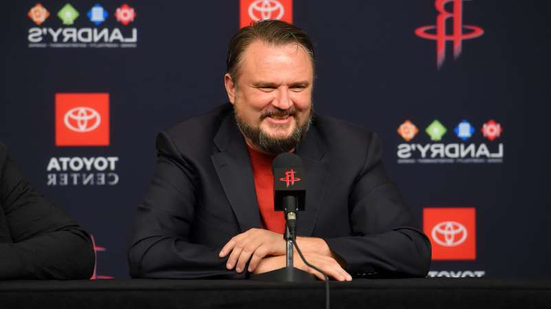Daryl Morey sitting in front of a screen: Bill Baptist / NBA / Getty Images