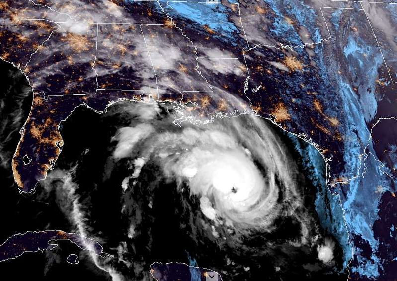This RAMMB/NOAA satellite image shows Hurricane Zeta moving towards the US Gulf Coast towards Louisiana on October 28, 2020, at 10:30 UTC