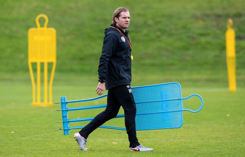 Robbie Neilson that is standing in the grass near a fence