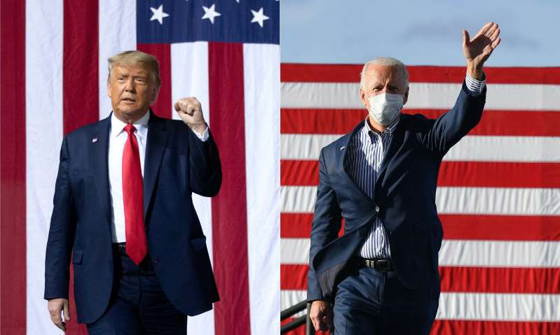 Donald Trump wearing a suit and tie standing in front of a flag: Democratic presidential nominee Joe Biden (left) and President Donald Trump (right) are pictured during their respective campaigns.