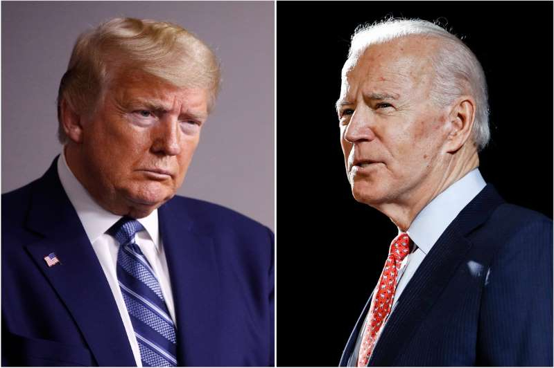Joe Biden, Donald Trump are posing for a picture: Former Vice President Joe Biden speaks in Wilmington, Del., left, and President Donald Trump speaks at the White House.