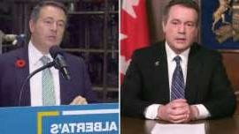 Jason Kenney, Jason Kenney are posing for a picture: Alberta Premier Jason Kenney, left, in an April televised address about the COVID-19 situation in the province. At right, Kenney responds to a question about the spread of the virus, at an unrelated press conference in October.