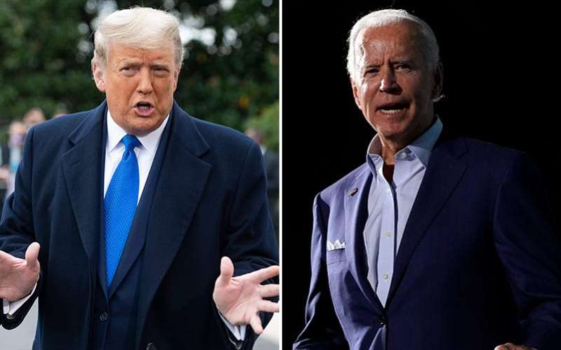 Joe Biden, Donald Trump are posing for a picture: Former Vice President Joe Biden, left, ad US President Donald J Trump.