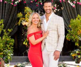 Roar Strand et al. standing in front of a flower: It's over! Just hours after The 2020 Bachelorette finale has aired, Becky Miles and Pete Mann have confirmed they have already broken up.