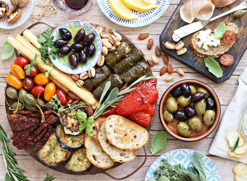 a bunch of different types of food on a table: Mediterranean diet antipasto appetizer platter