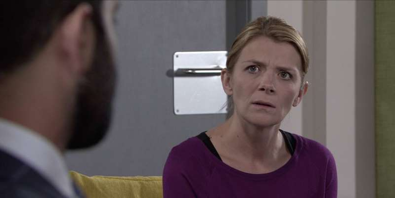 Jane Danson standing in front of a mirror posing for the camera: Leanne tells Imran that, with Steve now intent on stopping her appeal, she wants to sue the hospital for negligence.