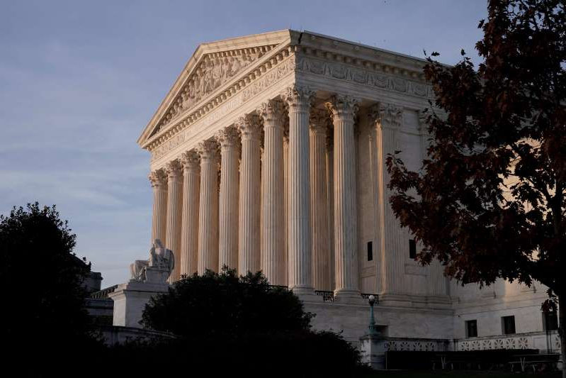 a group of people in front of a building: Supreme Court on Nov. 5, 2020, in Washington, D.C.