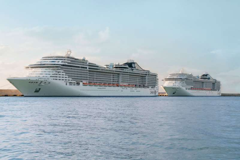 a large ship in a body of water: MSC Cruises