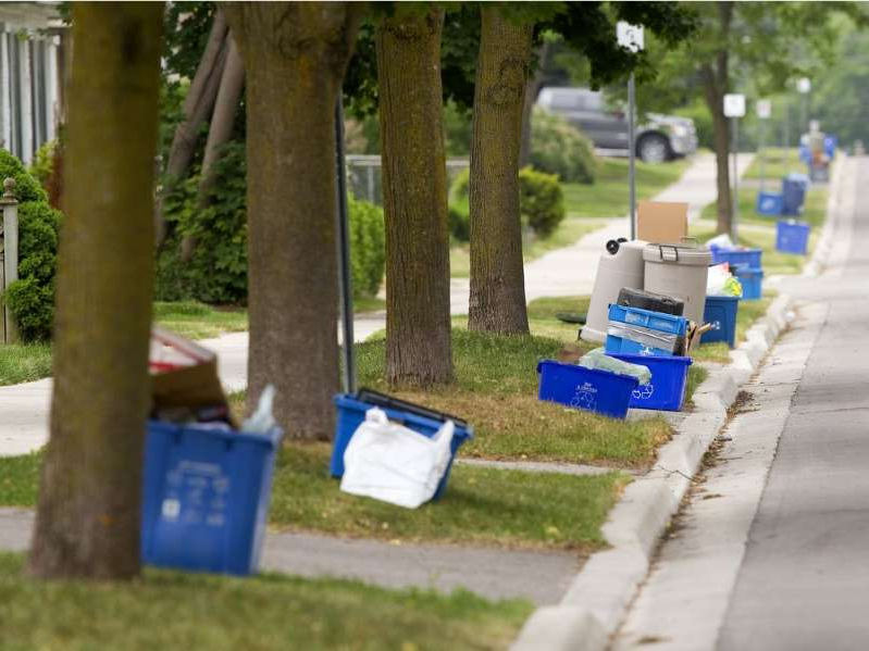 Blue boxes will no longer be picked up by City of Edmonton recycling collectors starting Monday. Residents will need to put materials in blue bags for collection.