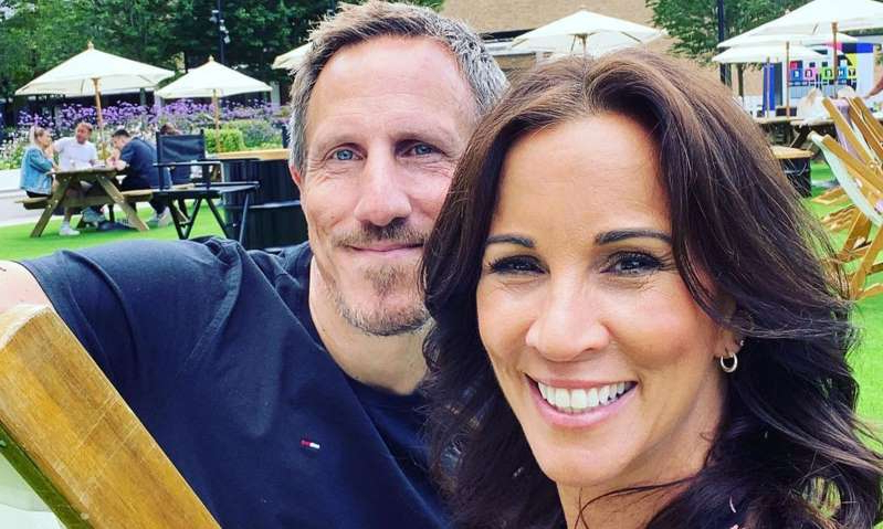 Andrea McLean smiling for the camera: Hello! Magazine