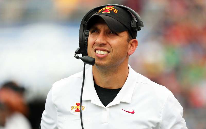 Matt Campbell wearing a hat: Iowa State coach Matt Campbell is apparently getting a lot of attention in NFL circles.