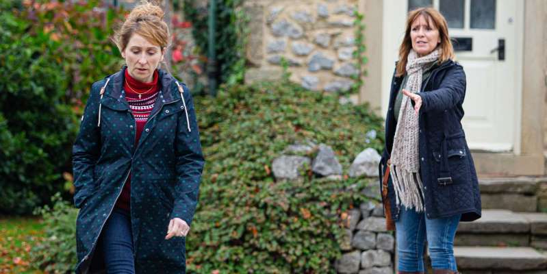 Zoe Henry, Charlotte Bellamy are posing for a picture: Laurel speaks to Rhona about the test results.