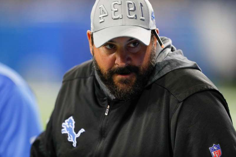 a man wearing a hat: Detroit Lions coach Matt Patricia looks on before the game against the Buffalo Bills at Ford Field on Aug. 23, 2019 in Detroit.