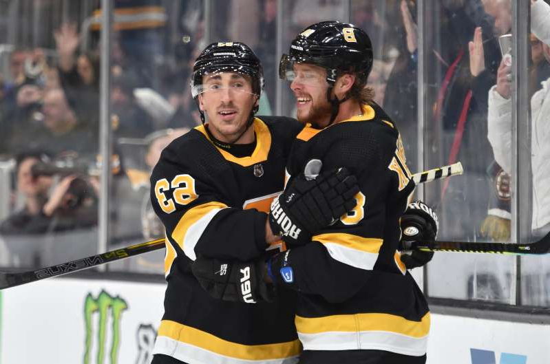 The Bruins are thankful for David Pastrnak (88) and Brad Marchand (63) this year.