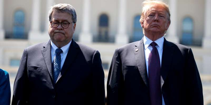 Donald Trump wearing a suit and tie: President Donald Trump with Attorney General William Barr at the US Capitol on May 15, 2019. AP Photo/Evan Vucci