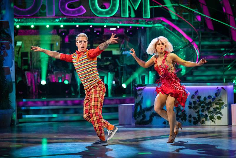 a man and a woman standing on a stage: Maisie and Gorka performing their Strictly Jive (C) BBC - Photographer: Guy Levy