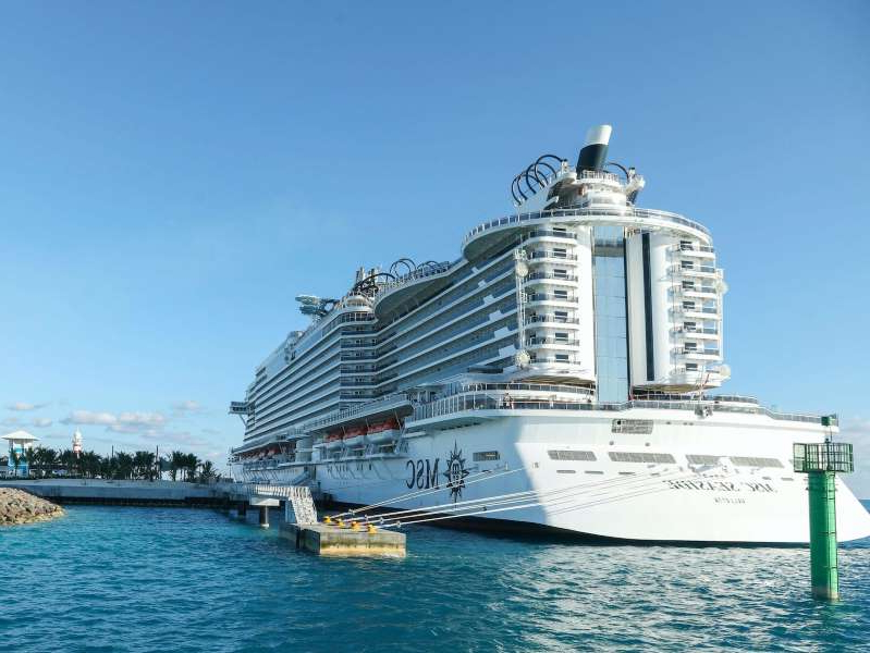 a large ship in the water: Major cruise lines such as MSC Cruises have already begun sailings in Europe. James McEntee/AP