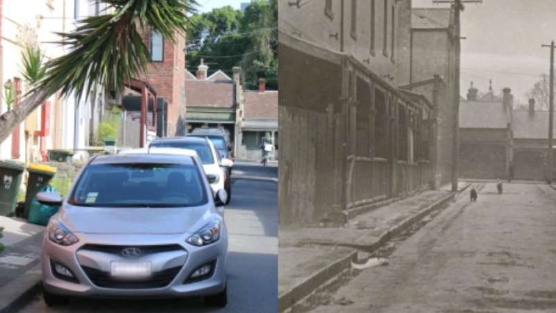 a car parked on a city street: A composite image showing David St, Carlton in the 1930s and in 2020. (Supplied: State Library of Victoria / ABC News: Tim Callanan)