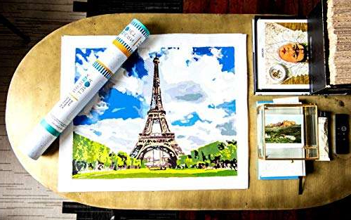 a stack of flyers on a table: Everything Eiffel - Modern Monet Paint by Numbers Kits for Adults, 16x20 (Amazon / Amazon)