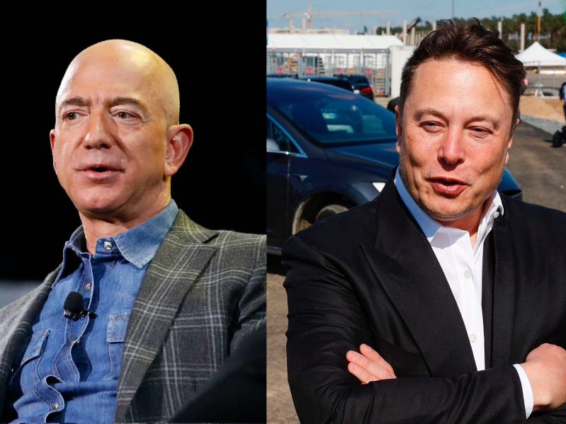 Elon Musk, Jeff Bezos are posing for a picture: SpaceX's CEO Elon Musk (left) and Amazon's CEO Jeff Bezos.