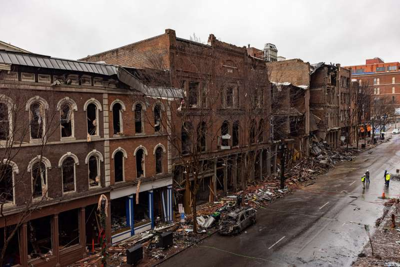 an old stone building: A Kentucky man was cleared by federal agents for any wrongdoing in the Nashville bombing on Dec. 25. A row of historic Riverside buildings along Second Avenue stand in ruins on December 31, 2020. On Christmas morning, suspect Anthony Warner detonated an R.V. packed with explosives in Downtown Nashville damaging over forty buildings in Nashville's Historic District.
