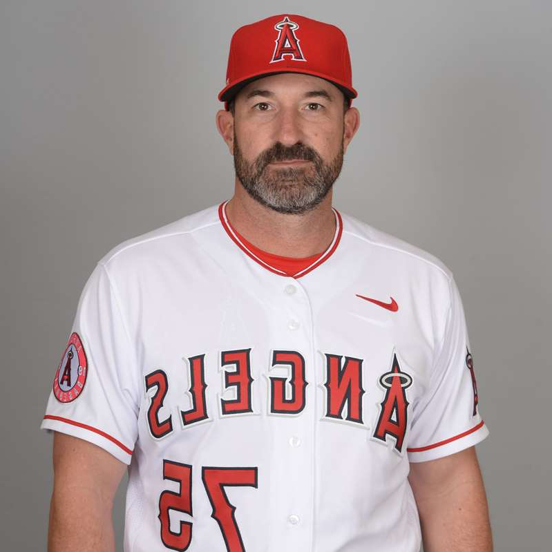 Mickey Callaway in a baseball uniform wearing a hat: Mickey Callaway is entering his second season as the Angels' pitching coach.
