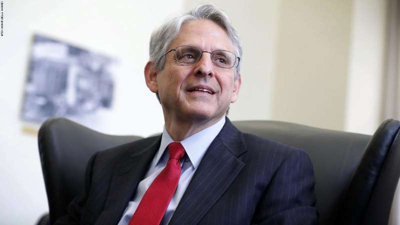 Merrick Garland wearing a suit and tie: WASHINGTON, DC - MAY 10: Supreme Court nominee Merrick Garland, chief judge of the D.C. Circuit Court, during a meeting with U.S. Sen. Brian Schatz (D-HI) May 10, 2016 on Capitol Hill in Washington, DC. Garland continued to place visits to Senate members after he was nominated by President Barack Obama to succeed the late Justice Antonin Scalia. (Photo by Alex Wong/Getty Images)